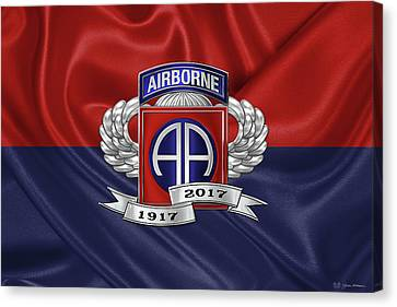 Abn Canvas Print - 2nd Airborne Division 100th Anniversary Insignia Over Division Flag by Serge Averbukh