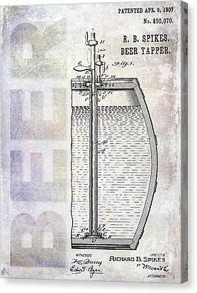 Stein Canvas Print - 1907 Beer Tapper Patent by Jon Neidert