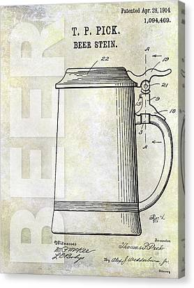 Stein Canvas Print - 1914 Beer Stein Patent by Jon Neidert