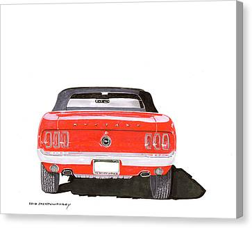 Canvas Print featuring the painting 1969 Mustang Convertible by Jack Pumphrey