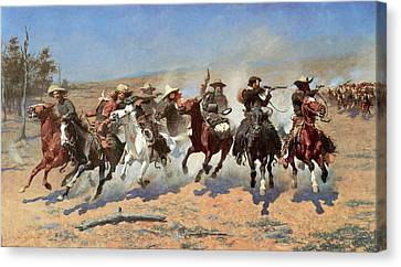 Remington Canvas Print - A Dash For The Timber by Frederic Remington