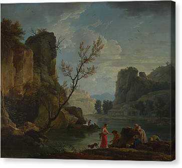 Seaside Heights Canvas Print - A River With Fishermen by Claude-Joseph Vernet