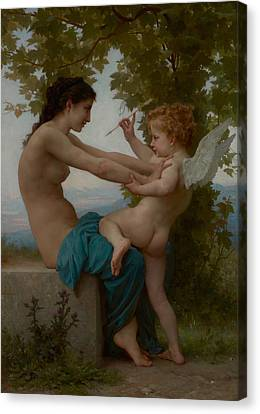 Super Girl Canvas Print - A Young Girl Defending Herself Against Eros by William-Adolphe Bouguereau