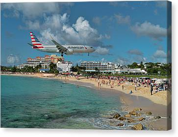 American Airlines At St. Maarten Canvas Print by David Gleeson