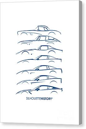 Chevrolets Canvas Print - American Sports Car Silhouettehistory by Gabor Vida