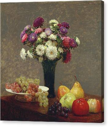 Asters And Fruit On A Table Canvas Print by Henri Fantin-Latour
