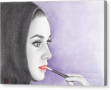 Canvas Print featuring the drawing Audrey Hepburn by Eliza Lo
