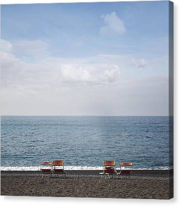 Empty Chairs Canvas Print - Beach Chairs by Joana Kruse