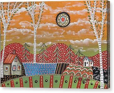Mountain Cabin Canvas Print - 3 Birches by Karla Gerard