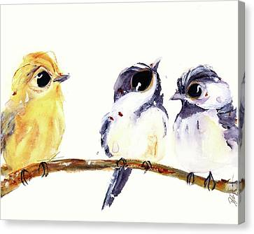 Canvas Print featuring the painting 3 Birds On A Branch by Dawn Derman
