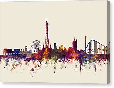 Blackpool England Skyline Canvas Print by Michael Tompsett