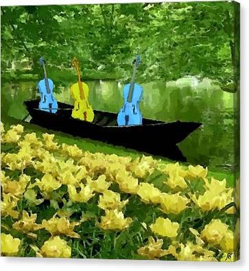 3 Blue Chellos In A Boat Canvas Print by Marcus Lewis