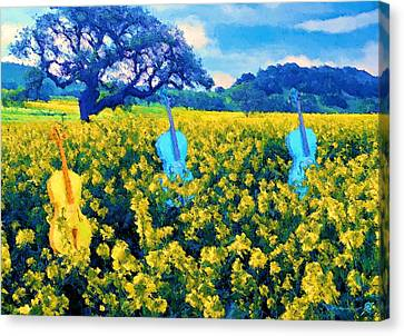 3 Blue Chellos Canvas Print by Marcus Lewis