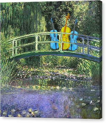 3 Blue Chellos On A Bridge Canvas Print by Marcus Lewis
