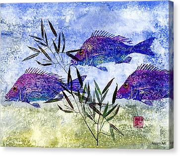 Gyotaku Canvas Print - 3 Blue Fish by Brenda Alcorn