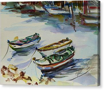 Canvas Print featuring the painting 3 Boats I by Xueling Zou