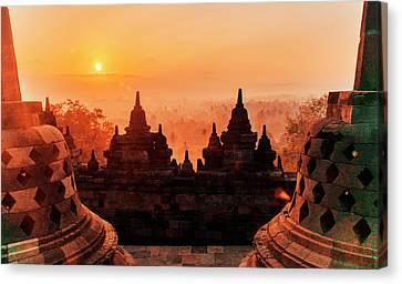 Borobudur Temple At Sunset Sunrise Dusk Canvas Print