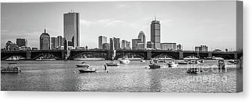 Boston Skyline Black And White Photo Canvas Print