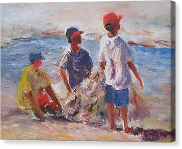 3 Boys And A Beach Canvas Print by Albert Fendig
