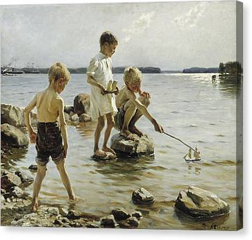 Boys Playing On The Shore Canvas Print by Albert Edelfelt