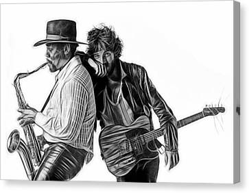 Bruce Springsteen Clarence Clemons Collection Canvas Print by Marvin Blaine