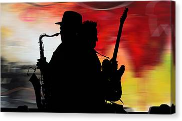 Portrait Canvas Print - Bruce Springsteen Clarence Clemons by Marvin Blaine