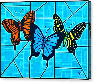 3  Butterflies On Blue Canvas Print