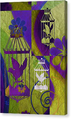 3 Caged Birds Canvas Print by Angelina Vick
