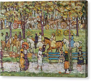 Park Benches Canvas Print - Central Park by Maurice Brazil Prendergast