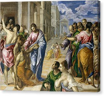 Christ Healing The Blind Canvas Print