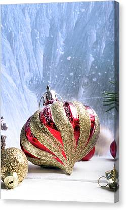 Christmas Red And Golden Ornaments Canvas Print by Vadim Goodwill