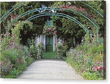 Claude Monet's Garden At Giverny Canvas Print by French School