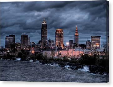 Cleveland Skyline At Dusk From Edgewater Park Canvas Print by At Lands End Photography