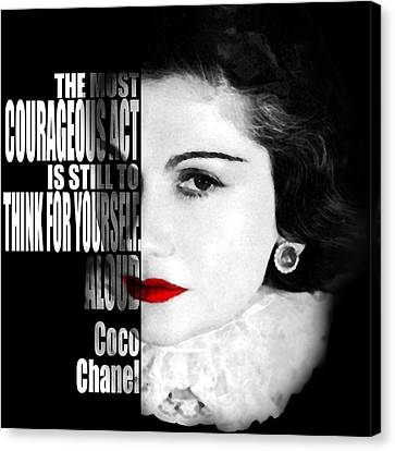 Coco Chanel Motivational Inspirational Independent Quotes Canvas Print by Diana Van