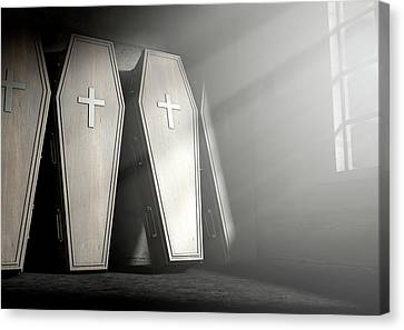 Coffin Row In A Room Canvas Print by Allan Swart