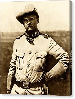 Canvas Print featuring the photograph Colonel Theodore Roosevelt by War Is Hell Store