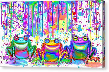 Canvas Print featuring the painting 3 Colorful Painted Frogs by Nick Gustafson