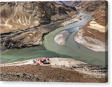 Asia Canvas Print - Confluence Of Zanskar And Indus Rivers Leh Ladakh India by Rudra Narayan  Mitra