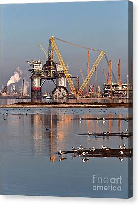 Construction Of Oil & Gas Platform Canvas Print by Inga Spence