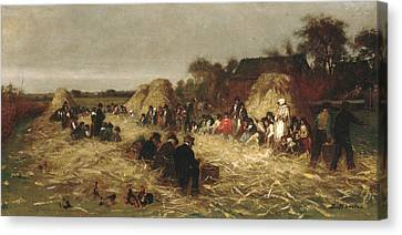 Nantucket Canvas Print - Corn Husking At Nantucket by Eastman Johnson