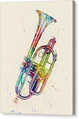 Cornet Abstract Watercolor Canvas Print by Michael Tompsett