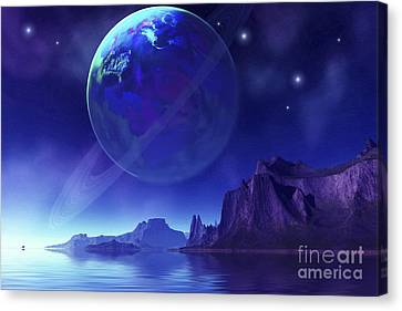 Cosmic Seascape On Another World Canvas Print by Corey Ford