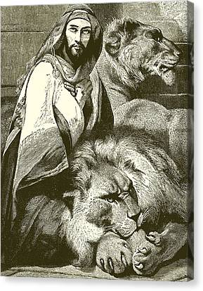 Daniel In The Lions Den Canvas Print by English School