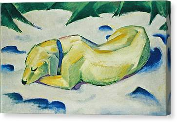 Dog Lying In The Snow Canvas Print by Franz Marc