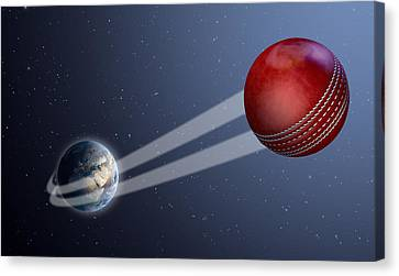 Earth With Ball Swoosh In Space Canvas Print by Allan Swart