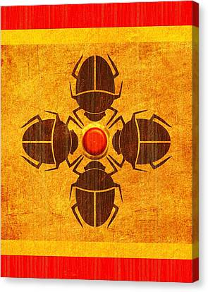 Canvas Print featuring the digital art Egyptian Scarab Beetle by John Wills
