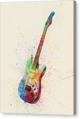 Electric Guitar Abstract Watercolor Canvas Print by Michael Tompsett