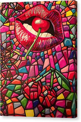 Cherry Lips Angle Canvas Print by Ellen Jagger