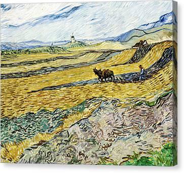 Dutch Landscapes Canvas Print - Enclosed Field With Ploughman by Vincent van Gogh
