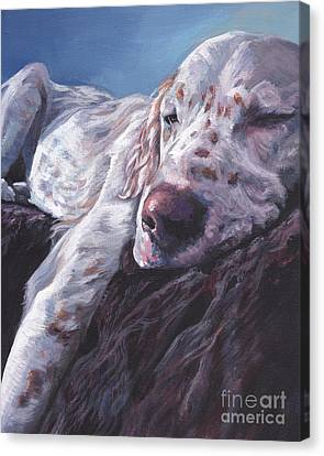 Canvas Print featuring the painting English Setter by Lee Ann Shepard